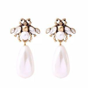 Kate Spade Gold & Pearl Bee Drop Earrings